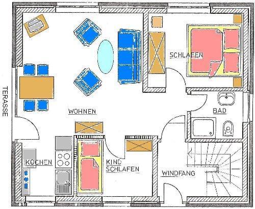 Mini Dusche Grundriss : Die Wohnungen – Ferienhaus R?bel / M?ritz Ferienwohnug Unterkunft
